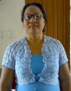 blue crocheted bolero