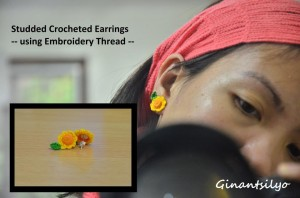 Studded Crocheted Earrings - motif: sunflower