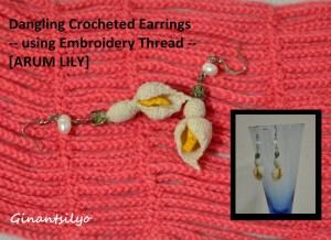 Dangling Crocheted Earrings - motif: Arum Lily