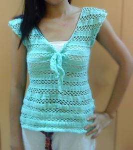 Mint Green Striped Front Tied Crocheted  Blouse