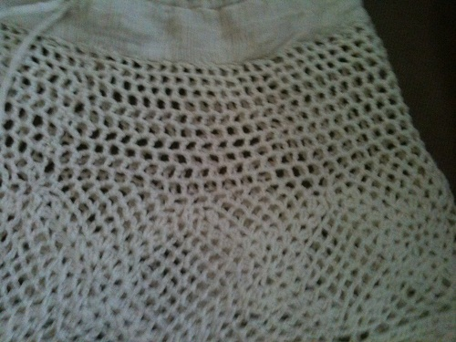 First Crocheted Shorts showing a wider lace mesh