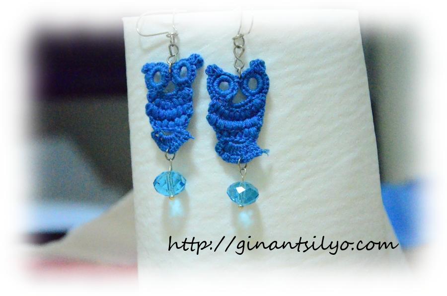 Blue crochet owl earrings