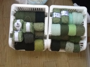 Green yarns in rack