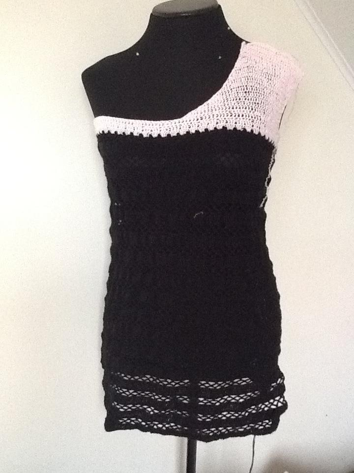 Black Stripes Crocheted Dress