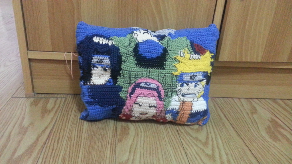 Naruto Team 7 - Kakashi Sensei, Naruto, Sakura and Sasuke - themed pillow