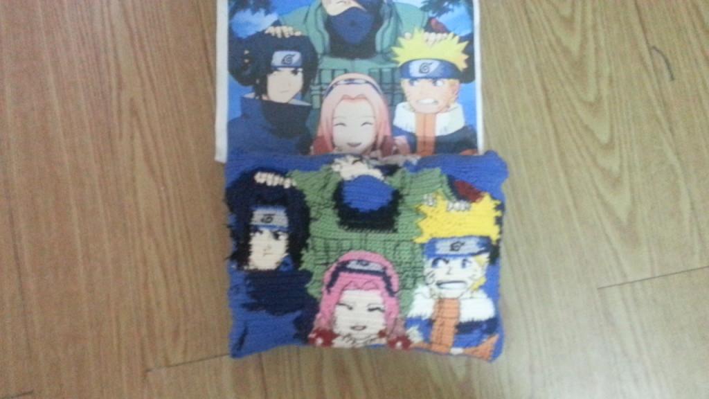 Naruto Team 7 - Kakashi Sensei, Naruto, Sakura and Sasuke - themed crocheted pillow